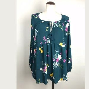 Old Navy Floral Green Blouse Womens XL Excellent